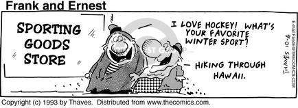 Comic Strip Bob Thaves Tom Thaves  Frank and Ernest 1993-10-04 hockey