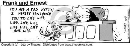 Cartoonist Bob Thaves Tom Thaves  Frank and Ernest 1993-10-05 bad kitty