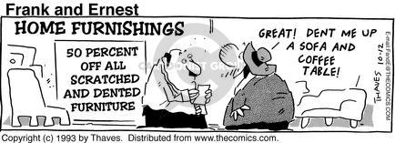 Comic Strip Bob Thaves Tom Thaves  Frank and Ernest 1993-10-12 furniture shop