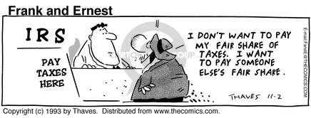 Comic Strip Bob Thaves Tom Thaves  Frank and Ernest 1993-11-02 cord