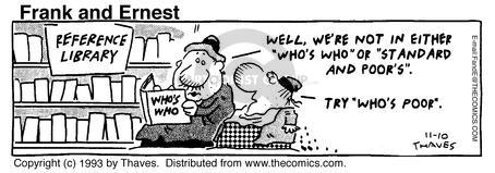 Comic Strip Bob Thaves Tom Thaves  Frank and Ernest 1993-11-10 finance