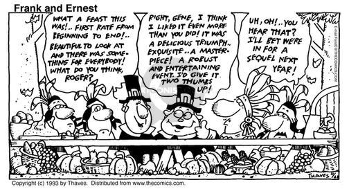 Comic Strip Bob Thaves Tom Thaves  Frank and Ernest 1993-11-21 first meal