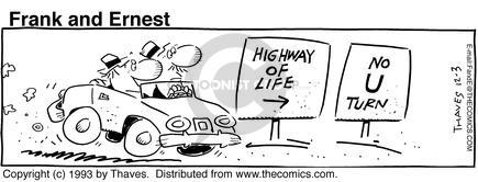Comic Strip Bob Thaves Tom Thaves  Frank and Ernest 1993-12-03 road sign