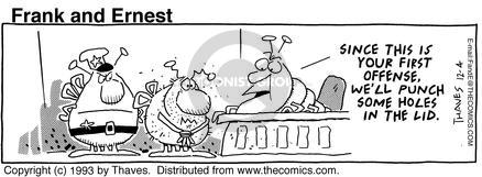 Comic Strip Bob Thaves Tom Thaves  Frank and Ernest 1993-12-04 defendant