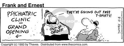Comic Strip Bob Thaves Tom Thaves  Frank and Ernest 1993-12-08 sign