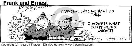 Cartoonist Bob Thaves Tom Thaves  Frank and Ernest 1993-12-27 couple