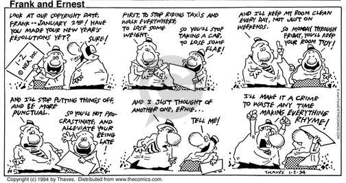 Cartoonist Bob Thaves Tom Thaves  Frank and Ernest 1994-01-02 good