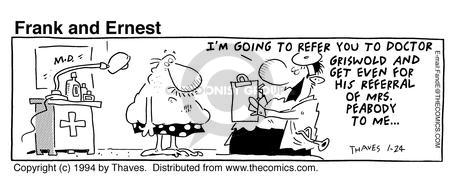 Comic Strip Bob Thaves Tom Thaves  Frank and Ernest 1994-01-24 get even