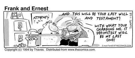 Comic Strip Bob Thaves Tom Thaves  Frank and Ernest 1994-01-28 desk