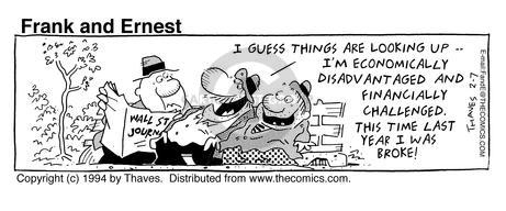 Comic Strip Bob Thaves Tom Thaves  Frank and Ernest 1994-02-07 disadvantaged
