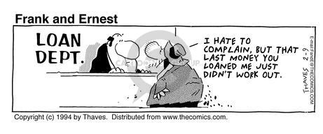 Cartoonist Bob Thaves Tom Thaves  Frank and Ernest 1994-02-09 counter