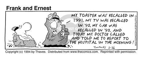 Comic Strip Bob Thaves Tom Thaves  Frank and Ernest 1994-02-26 liability