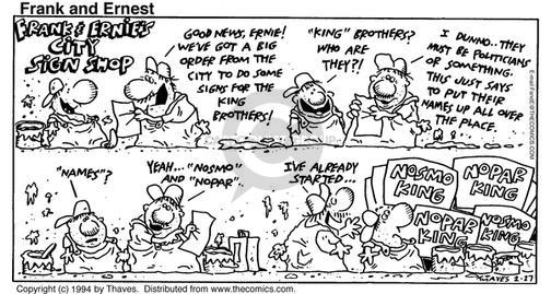 Comic Strip Bob Thaves Tom Thaves  Frank and Ernest 1994-02-27 employee parking