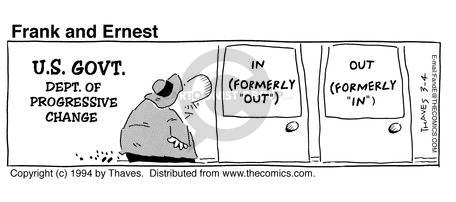 Comic Strip Bob Thaves Tom Thaves  Frank and Ernest 1994-03-04 change