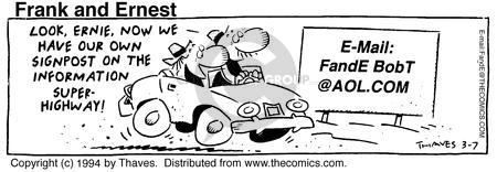 Comic Strip Bob Thaves Tom Thaves  Frank and Ernest 1994-03-07 signpost
