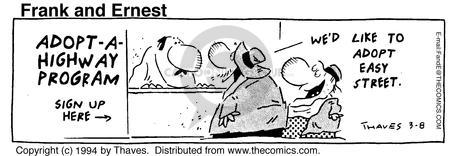 Cartoonist Bob Thaves Tom Thaves  Frank and Ernest 1994-03-08 adopt-a-highway