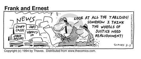 Comic Strip Bob Thaves Tom Thaves  Frank and Ernest 1994-03-11 verdict
