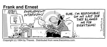 Comic Strip Bob Thaves Tom Thaves  Frank and Ernest 1994-03-14 desk