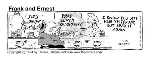 Comic Strip Bob Thaves Tom Thaves  Frank and Ernest 1994-03-15 sign