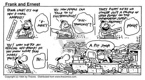 Comic Strip Bob Thaves Tom Thaves  Frank and Ernest 1994-03-27 desk