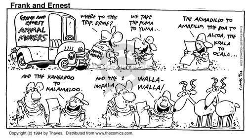 Cartoonist Bob Thaves Tom Thaves  Frank and Ernest 1994-04-24 kangaroo