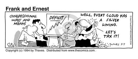 Comic Strip Bob Thaves Tom Thaves  Frank and Ernest 1994-05-07 deficit