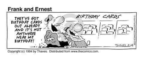 Cartoonist Bob Thaves Tom Thaves  Frank and Ernest 1994-05-28 birthday card