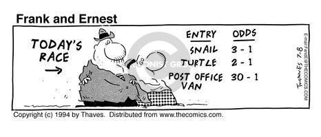 Comic Strip Bob Thaves Tom Thaves  Frank and Ernest 1994-07-08 turtle