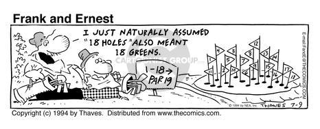 Comic Strip Bob Thaves Tom Thaves  Frank and Ernest 1994-07-09 green hole