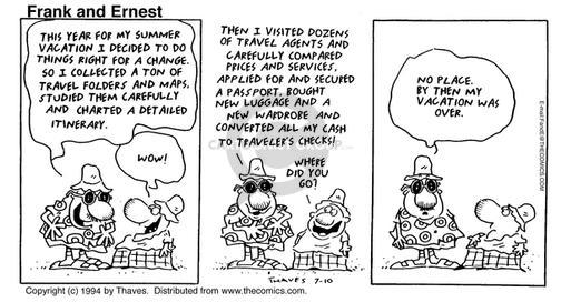Comic Strip Bob Thaves Tom Thaves  Frank and Ernest 1994-07-10 travel agent