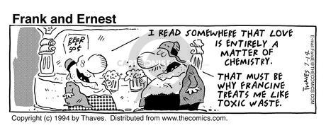 Comic Strip Bob Thaves Tom Thaves  Frank and Ernest 1994-07-14 relationship