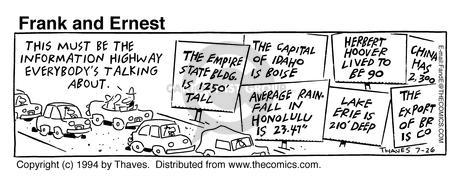 Comic Strip Bob Thaves Tom Thaves  Frank and Ernest 1994-07-26 sign