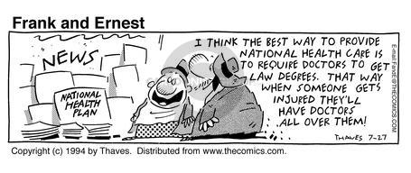 Comic Strip Bob Thaves Tom Thaves  Frank and Ernest 1994-07-27 law degree