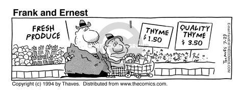 Comic Strip Bob Thaves Tom Thaves  Frank and Ernest 1994-07-29 green