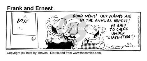 Cartoonist Bob Thaves Tom Thaves  Frank and Ernest 1994-08-05 good