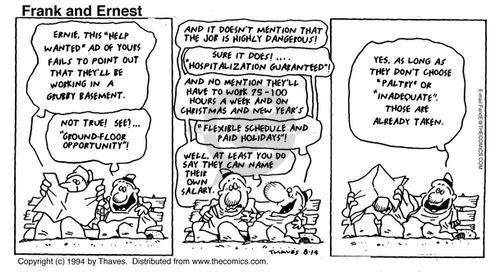 Comic Strip Bob Thaves Tom Thaves  Frank and Ernest 1994-08-14 deceptive