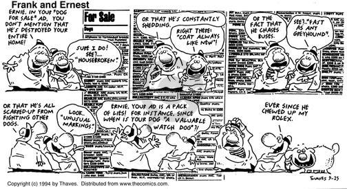 Comic Strip Bob Thaves Tom Thaves  Frank and Ernest 1994-09-25 breed