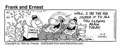 Comic Strip Bob Thaves Tom Thaves  Frank and Ernest 1994-10-13 stock market