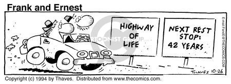 Comic Strip Bob Thaves Tom Thaves  Frank and Ernest 1994-10-26 stop sign