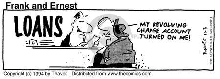 Comic Strip Bob Thaves Tom Thaves  Frank and Ernest 1994-11-03 overdrawn