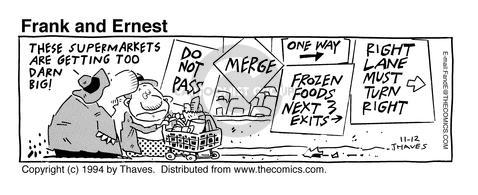 Comic Strip Bob Thaves Tom Thaves  Frank and Ernest 1994-11-12 store sign