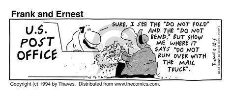 Comic Strip Bob Thaves Tom Thaves  Frank and Ernest 1994-12-05 damage
