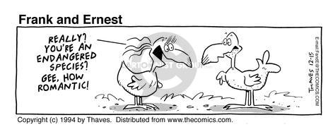 Cartoonist Bob Thaves Tom Thaves  Frank and Ernest 1994-12-15 endangered