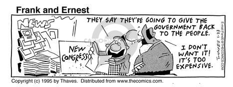 Comic Strip Bob Thaves Tom Thaves  Frank and Ernest 1995-01-23 Congress