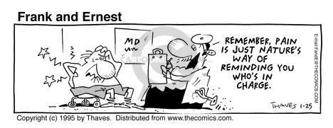 Cartoonist Bob Thaves Tom Thaves  Frank and Ernest 1995-01-25 ache