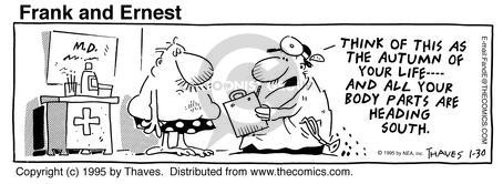 Comic Strip Bob Thaves Tom Thaves  Frank and Ernest 1995-01-30 senior health