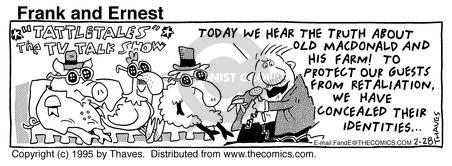 Comic Strip Bob Thaves Tom Thaves  Frank and Ernest 1995-02-28 hear