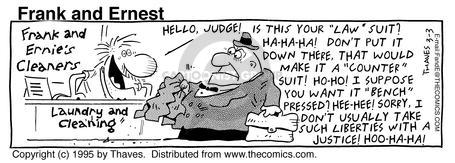 Comic Strip Bob Thaves Tom Thaves  Frank and Ernest 1995-03-03 law