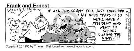Cartoonist Bob Thaves Tom Thaves  Frank and Ernest 1995-03-06 panic