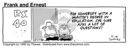 Comic Strip Bob Thaves Tom Thaves  Frank and Ernest 1995-03-14 education